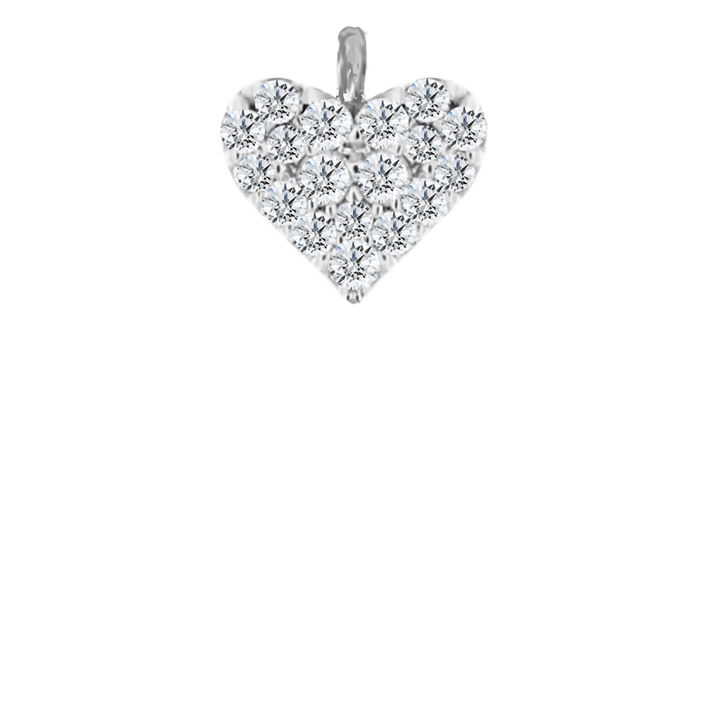 Pave White Gold Heart