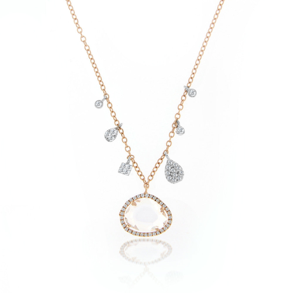 White Topaz Off-Centered Necklace