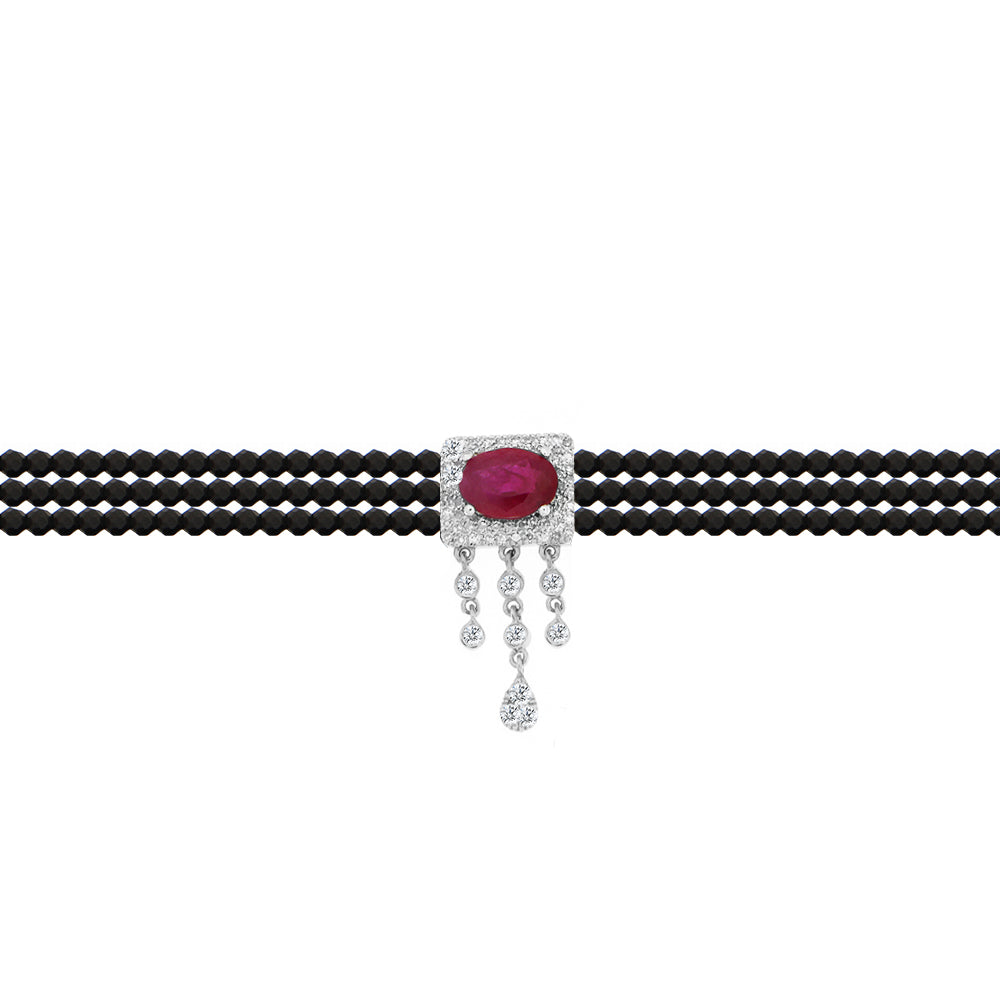 Ruby Diamond Black Spinelle Diamond Choker