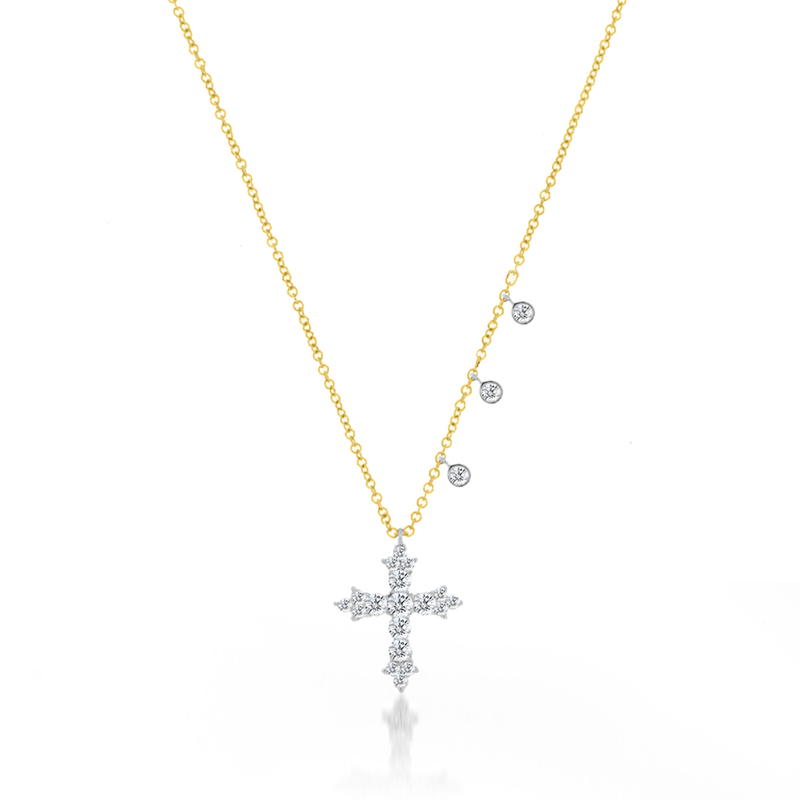 diamond cross necklace-Meira T