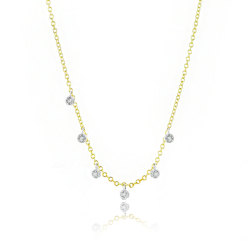 Yellow Gold Pave Diamond Charm Necklace