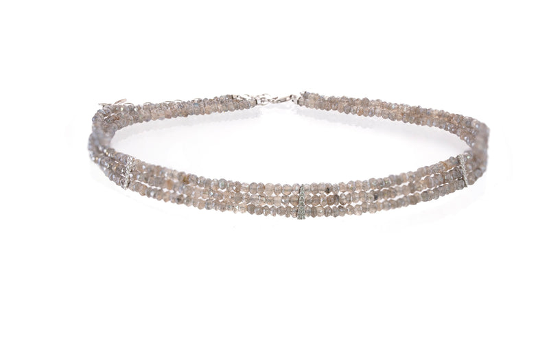 White Gold and Diamond Labradorite Diamond Choker Necklace