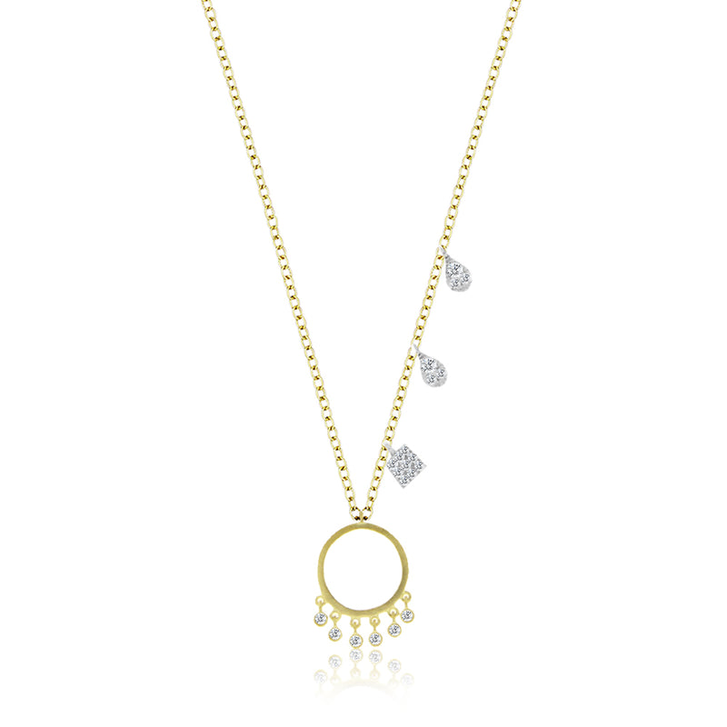 Brushed Yellow Gold Fringed Circle Necklace