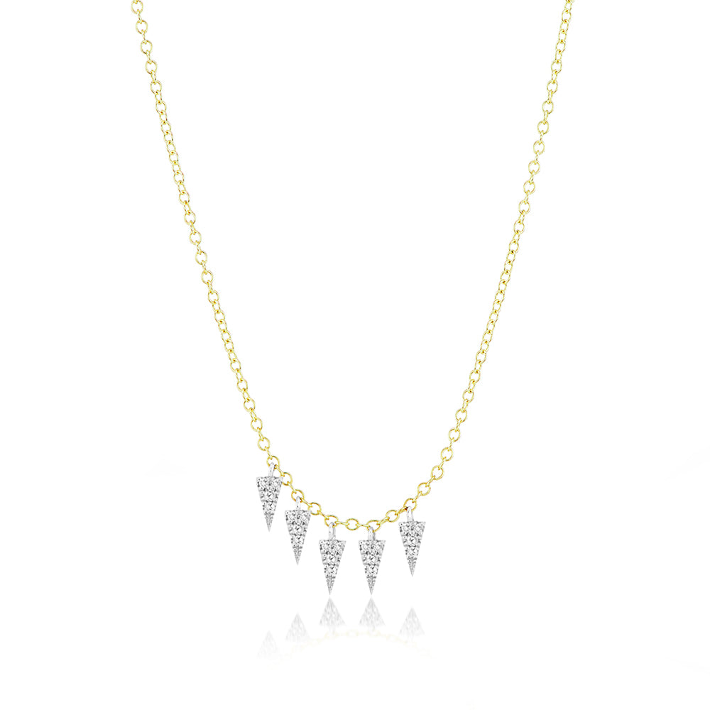 Meira T Yellow Gold Triangle Fringe Necklace