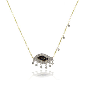 Abstract Evil Eye Diamond Necklace