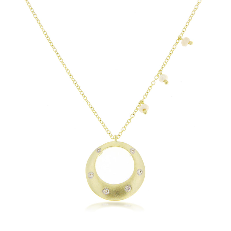 Brush Gold and Diamond Necklace