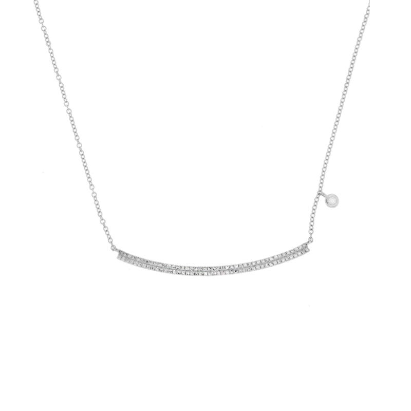 White Gold and Diamond Bar Necklace