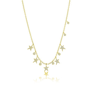 Yellow Gold Diamond Star Necklace