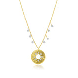 Gold Disk Diamond Necklace