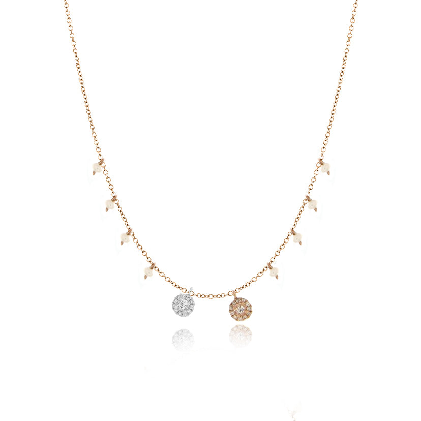 Dainty Pearl and Diamond Necklace