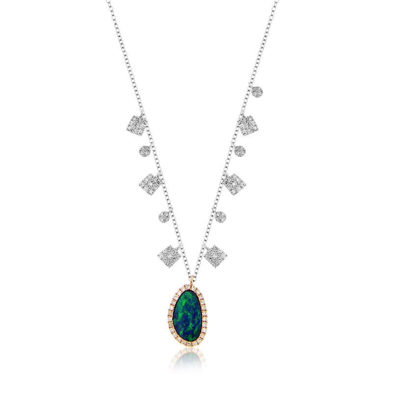 Two Tone Gold Opal Diamond Necklace
