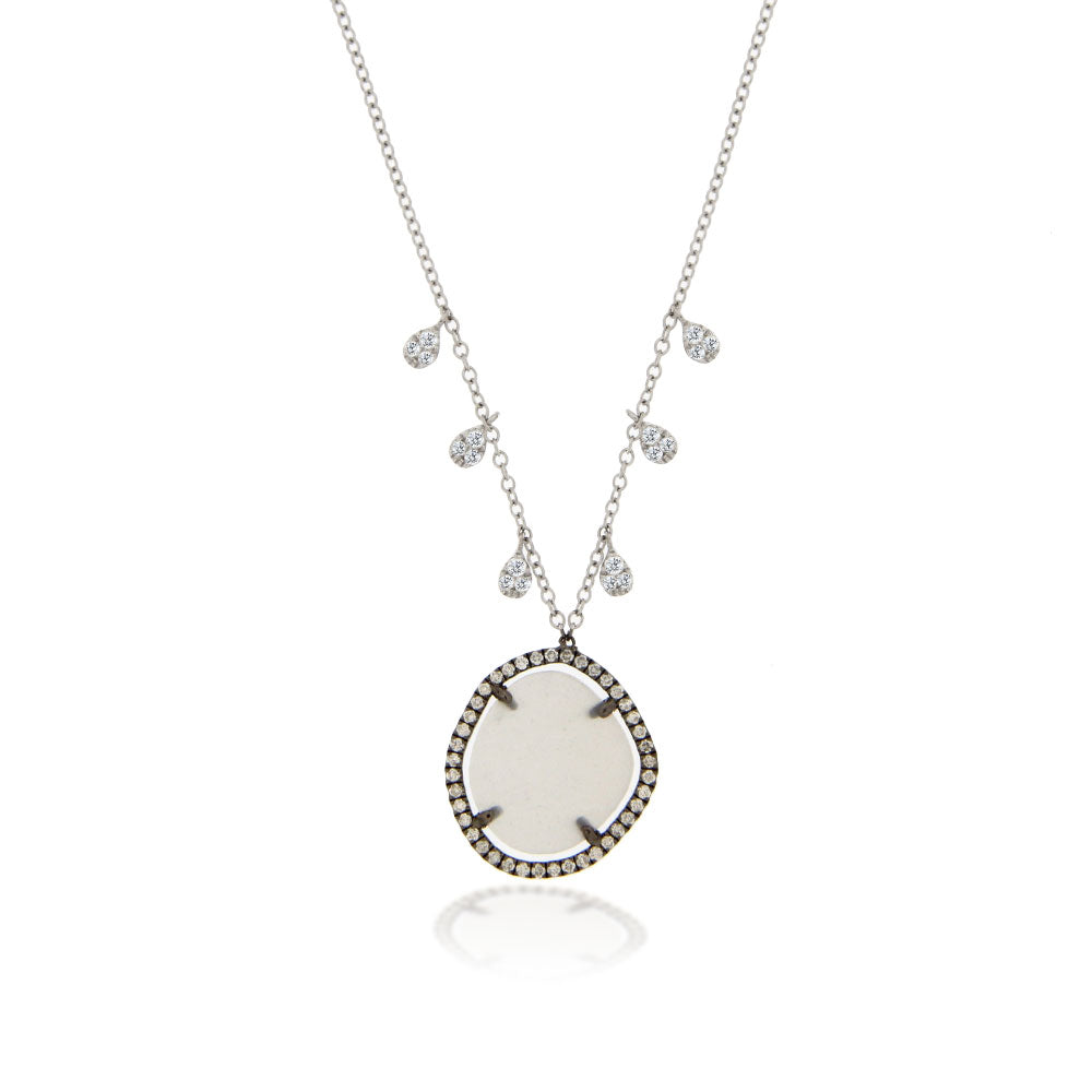 White Gold Bezel Necklace with Grey Moonstone