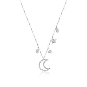 White gold Moon and Star Diamond Necklace