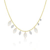 White Opal and Diamond Fringe Necklace