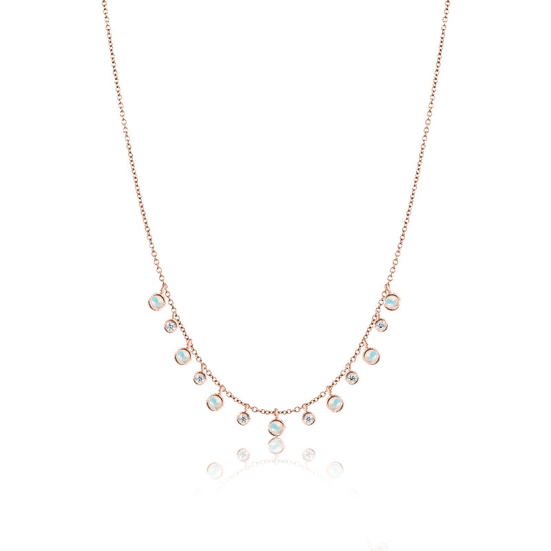 Rose Gold Opal Layering Necklace