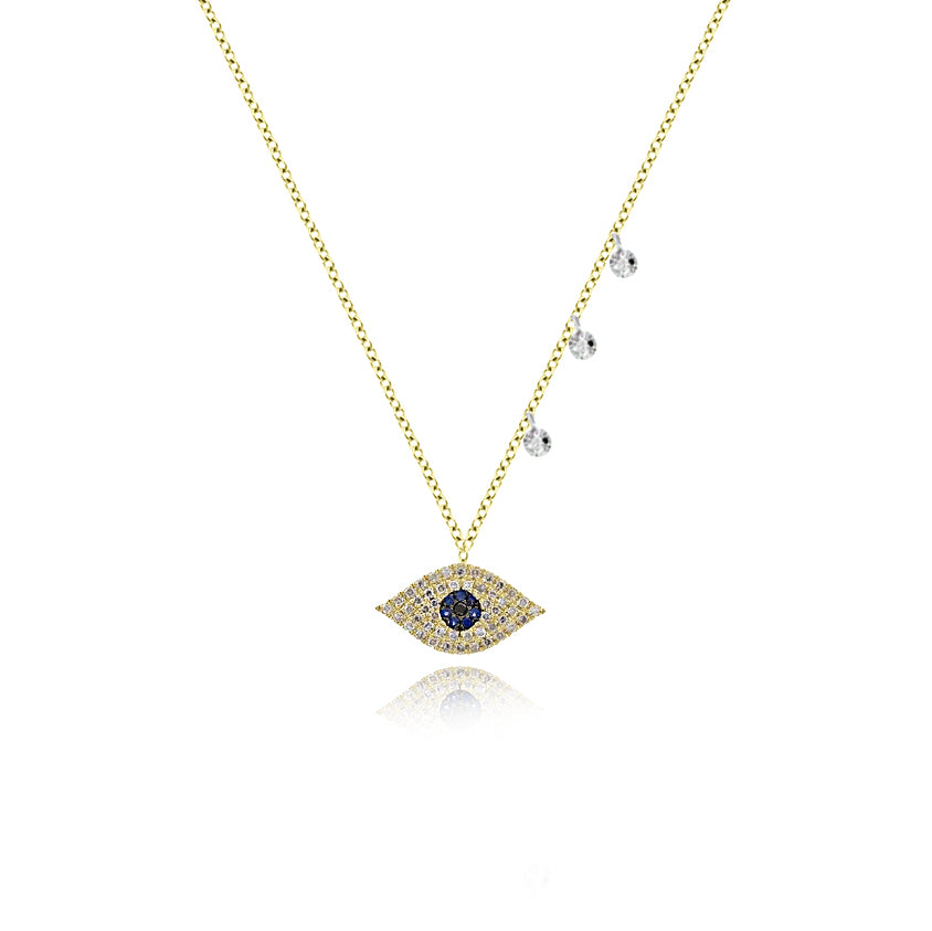 Yellow Gold Blue Sapphire Diamond Evil Eye Necklace