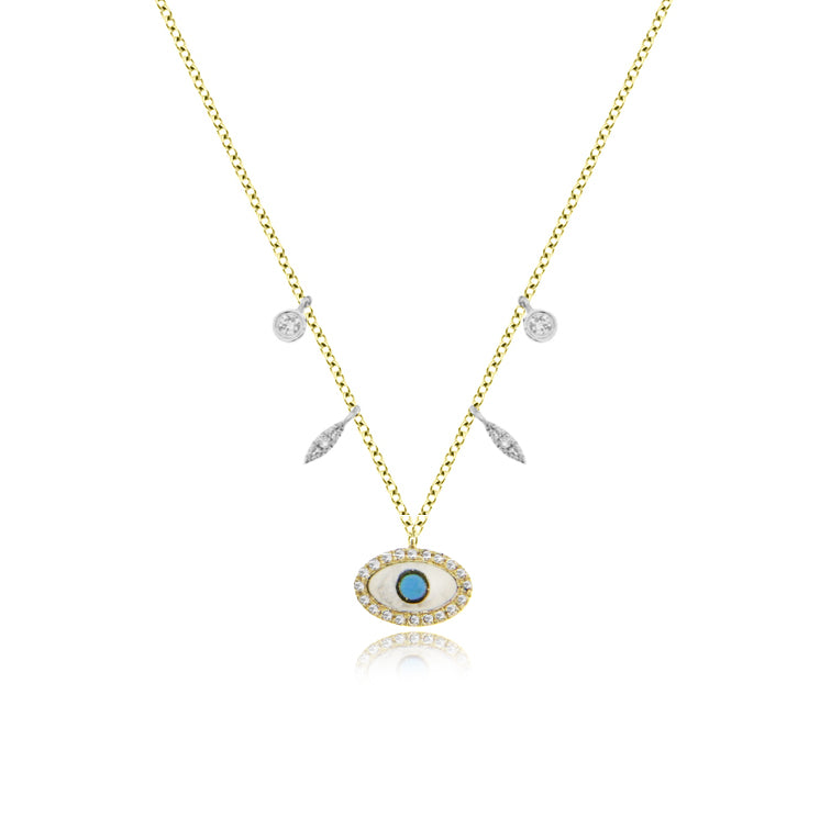 Enamel Evil Eye Necklace With Diamond