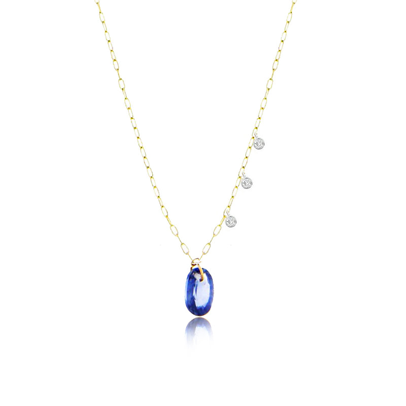 Drilled Blue Sapphire Necklace