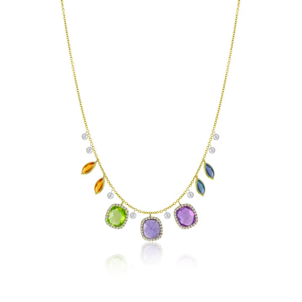 Diamond and Rainbow Stone Necklace