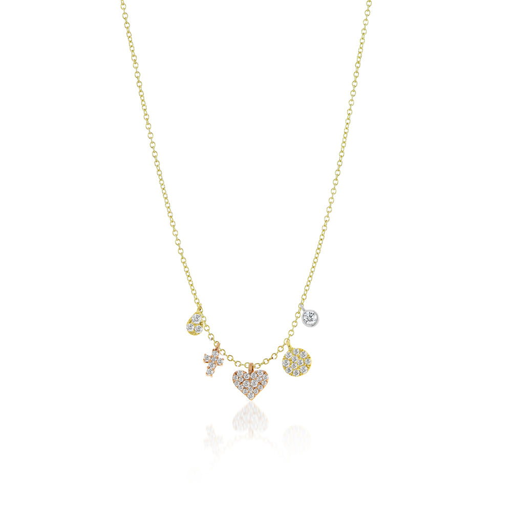 Heart and Cross Charm Necklace