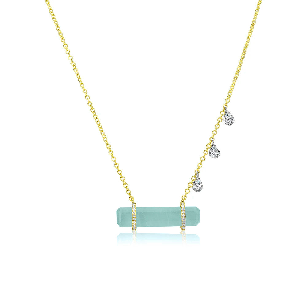 Yellow Gold Aquamarine Bar Charm Necklace