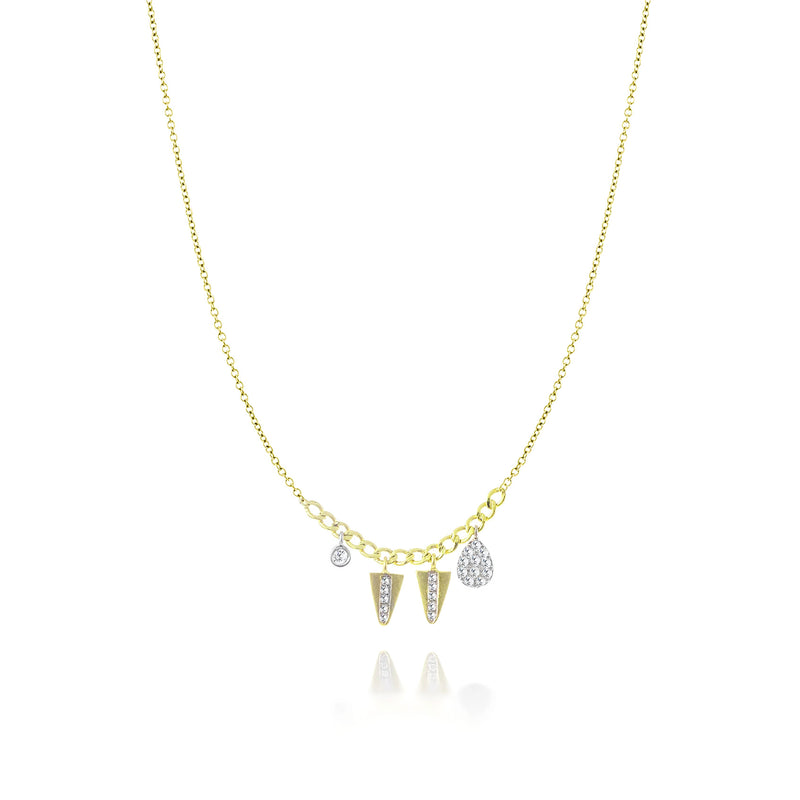 Yellow Gold Pave Charm Necklace