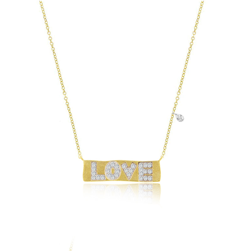Brushed Gold Love Plate Necklace