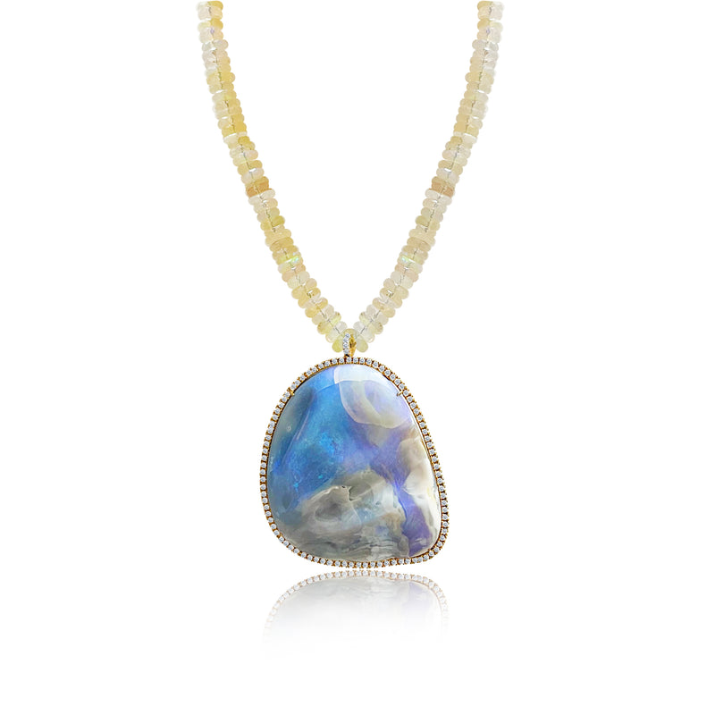 Oversized Opal and Moonstone Bead Necklace