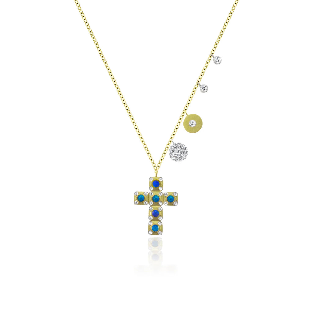 Square Cross Necklace with Opal Accents