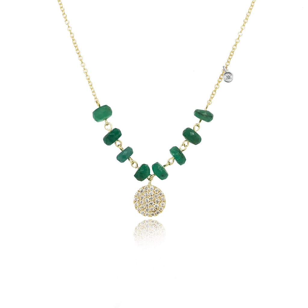 Yellow Gold Emerald Disk Necklace