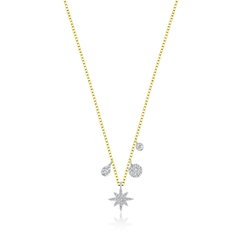 Yellow Gold Starburst Diamond Charm Necklace