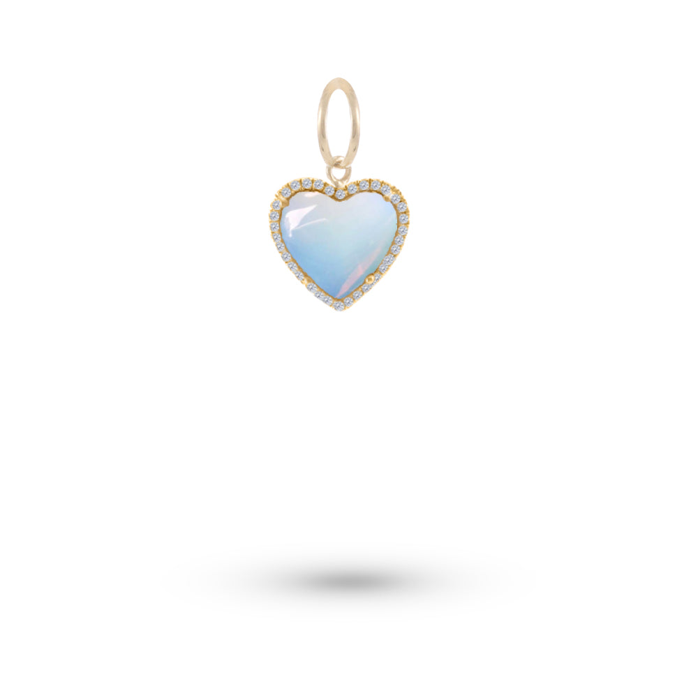 Yellow Gold Moonstone Heart Charm