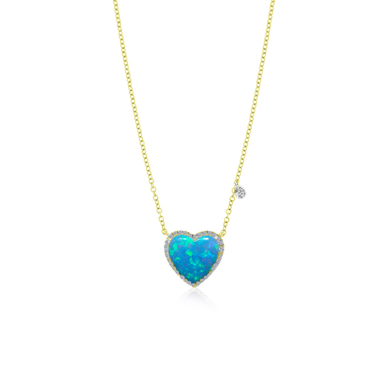 Yellow Gold Blue Opal Heart Necklace