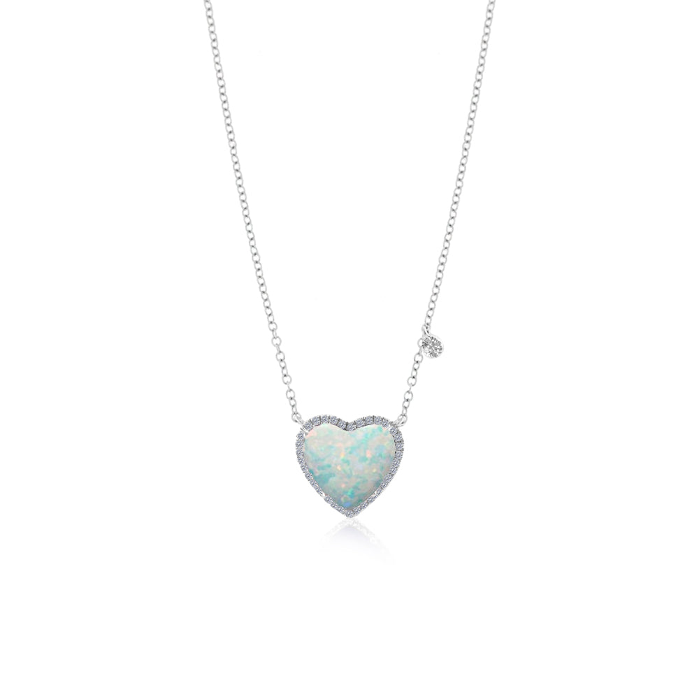White Opal Heart Necklace