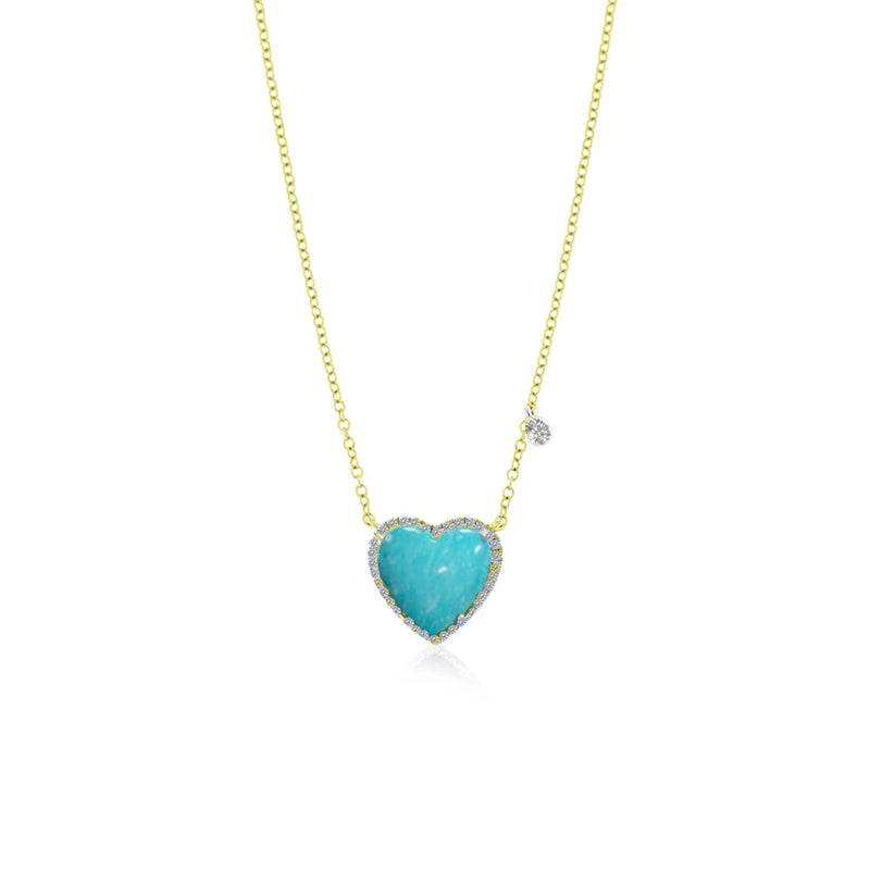 Yellow Gold Turquoise Heart Necklace