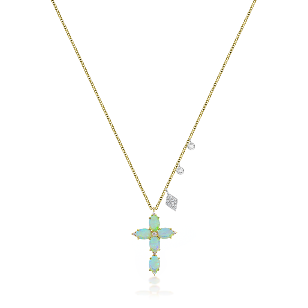 Yellow Gold Opal Cross Necklace
