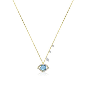 Diamond Halo Evil Eye Necklace