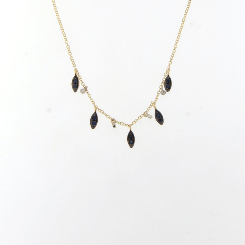 Yellow Gold Blue Sapphire Necklace