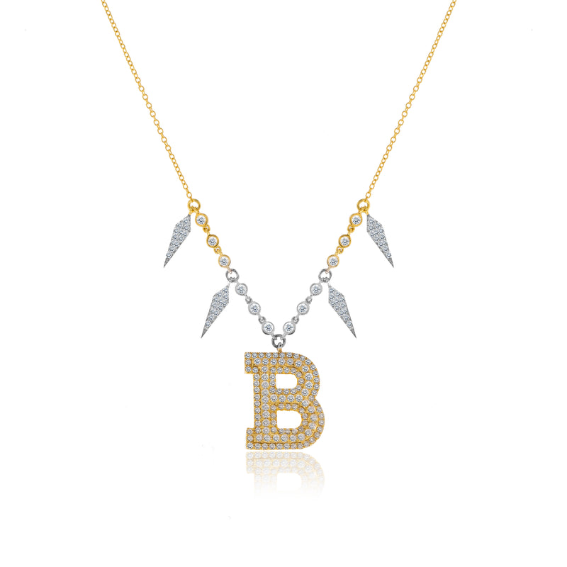 Statement Diamond Initial Necklace