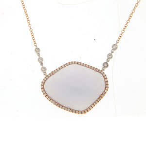 Rose Gold Chalcedony Diamonds Necklace