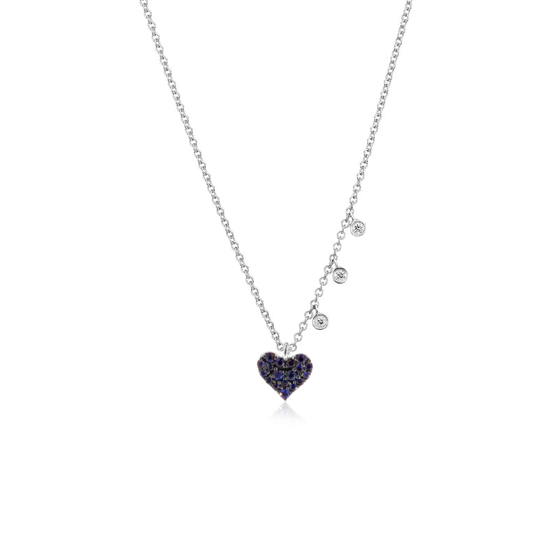 Blue Sapphire Dainty Heart Necklace
