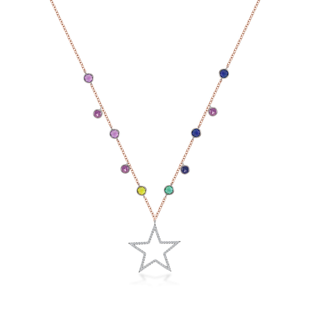 Rainbow Star and Bezel Necklace