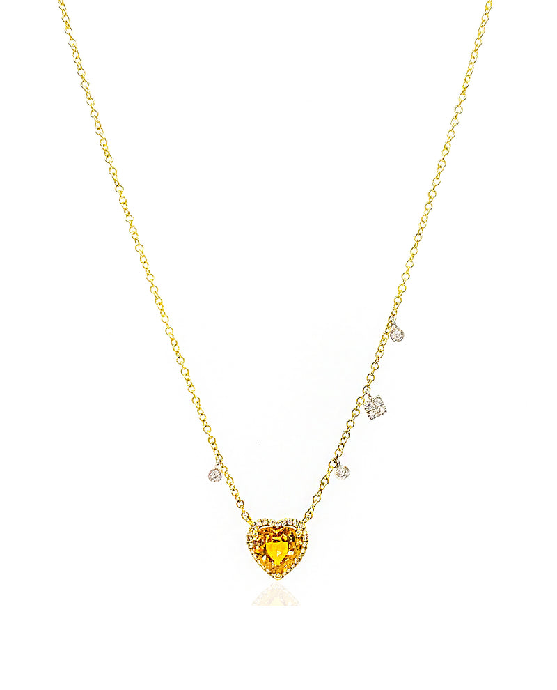 Yellow Gold Citrine Heart Necklace