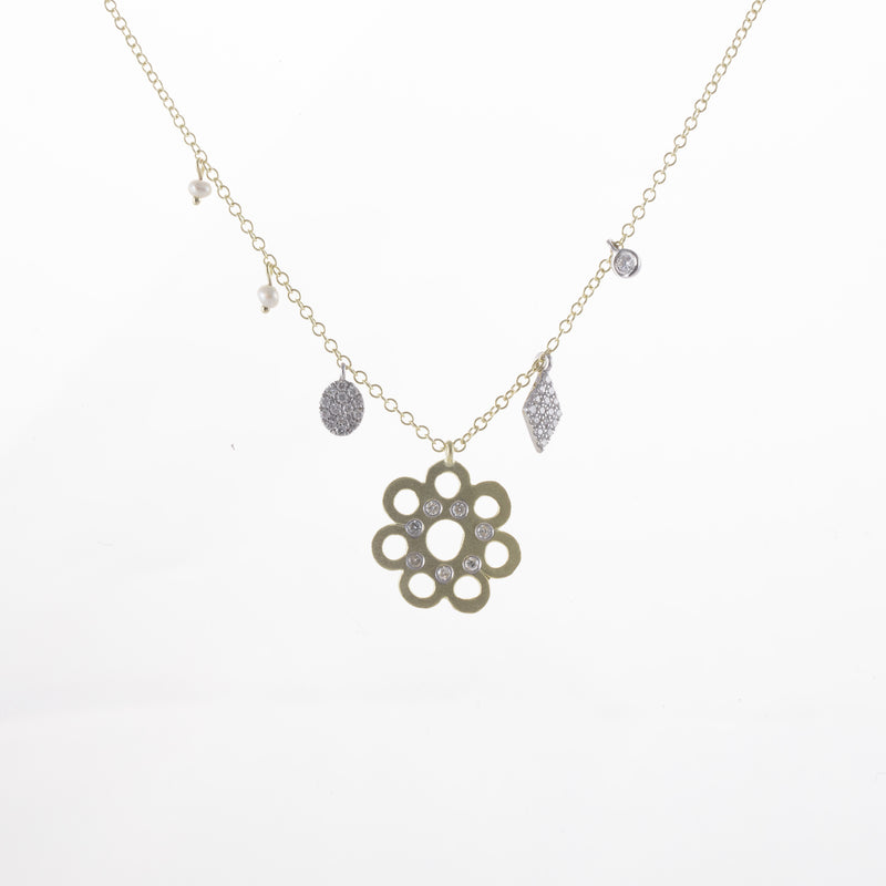 Two Tone Flower Off-Centered Charm Necklace