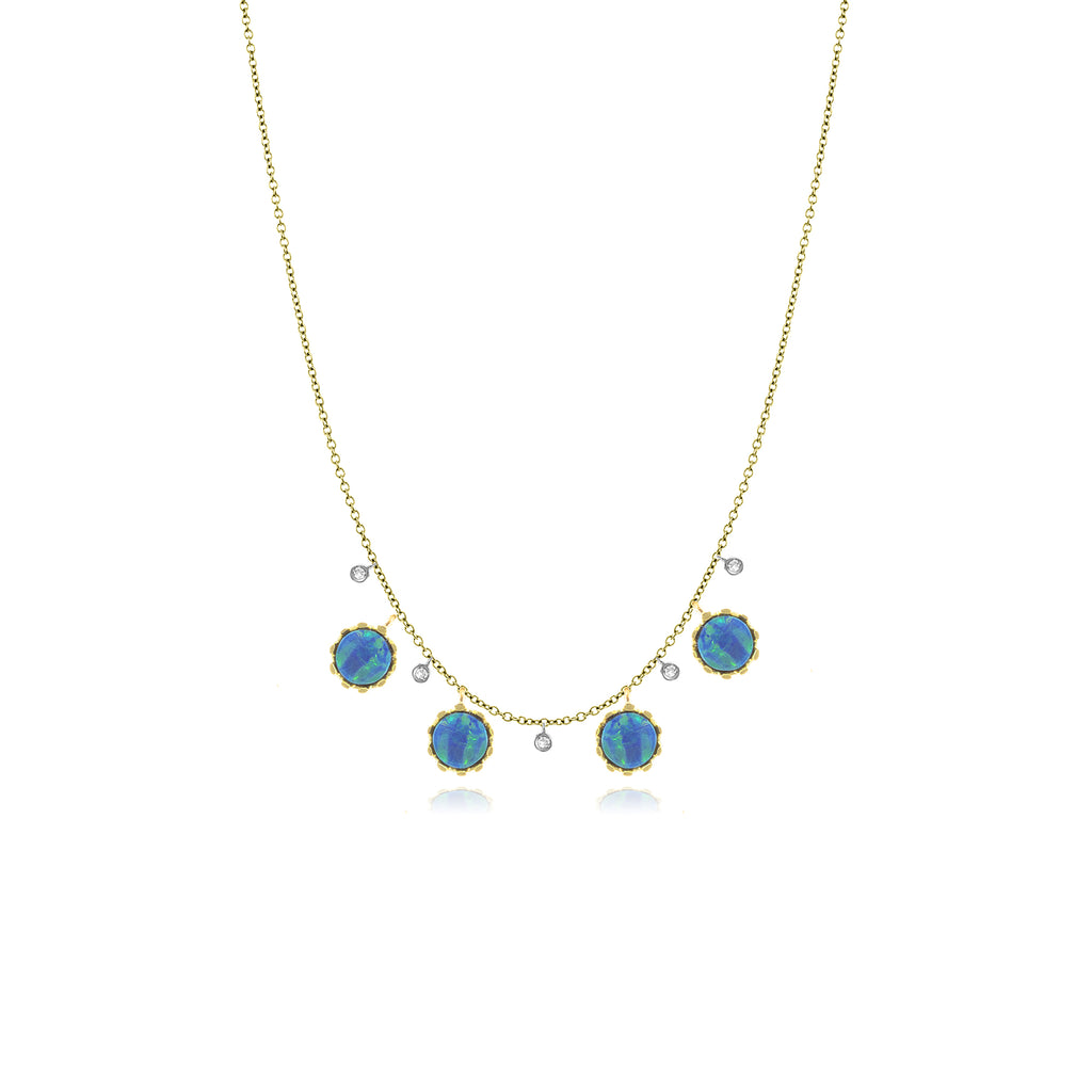 14k Yellow Gold Opal Necklace