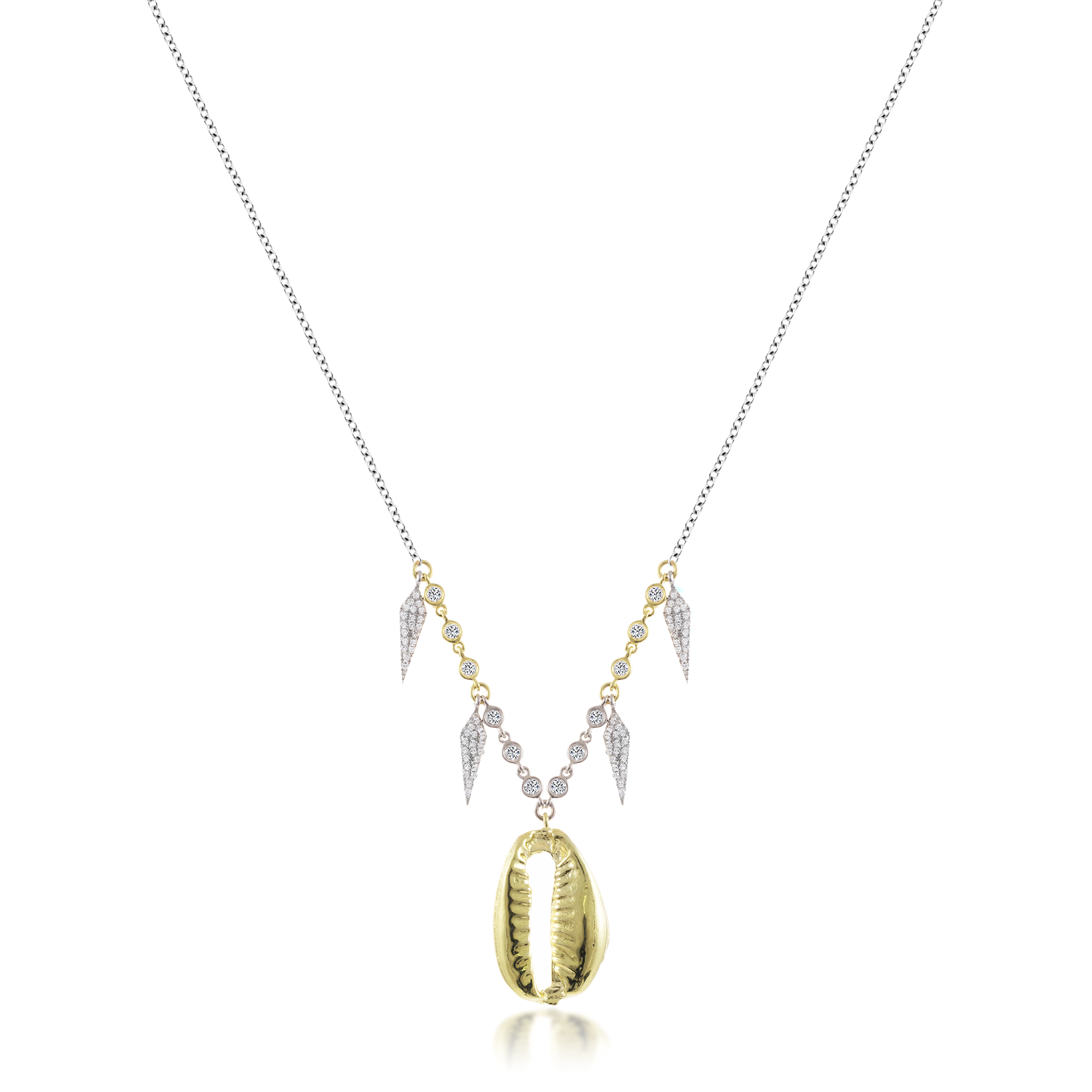 Yellow Gold Shell Necklace with Diamond Charms