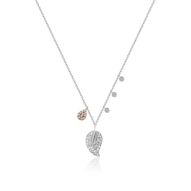 Pave Leaf Charm Necklace