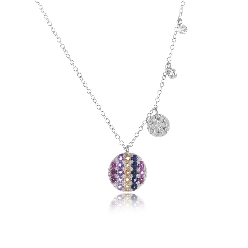 White Gold Rainbow Disk Necklace