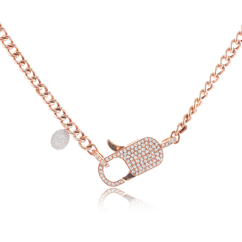 Chunky Chain Clasp Diamond Encrusted Necklace