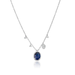 Kyanite Sapphire Halo Necklace